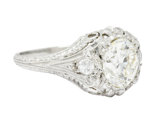 Art Deco Ornate 2.09 CTW Diamond Platinum Floral Engagement Ring - Wilson's Estate Jewelry