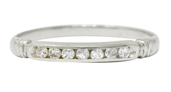 Early Art Deco Diamond Platinum Wedding Stacking Band Ring