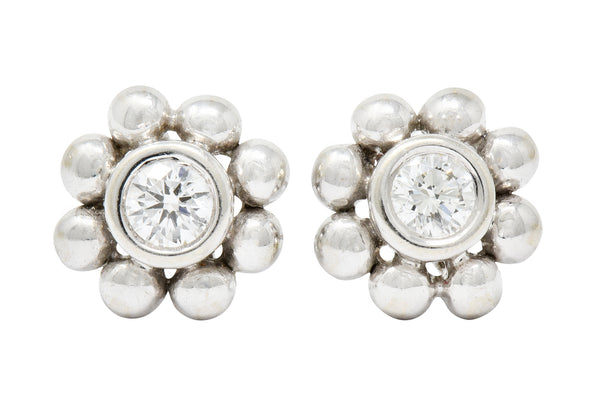 Tiffany & Co. Diamond 18 Karat White Gold Floral Cluster Stud Earrings