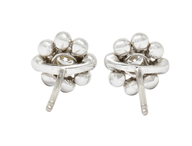 Tiffany & Co. Diamond 18 Karat White Gold Floral Cluster Stud Earrings - Wilson's Estate Jewelry