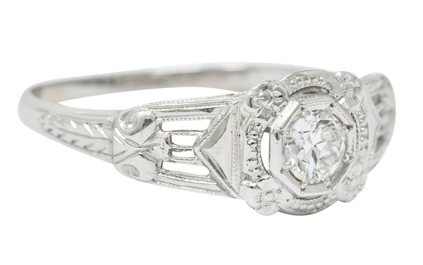 Art Deco Diamond 18 Karat White Gold Orange Blossom Halo Engagement Ring