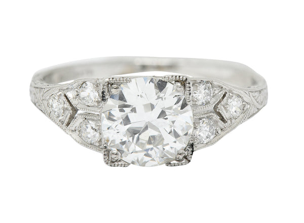 Graf Art Deco 1.36 CTW Diamond Platinum Engagement Ring GIA