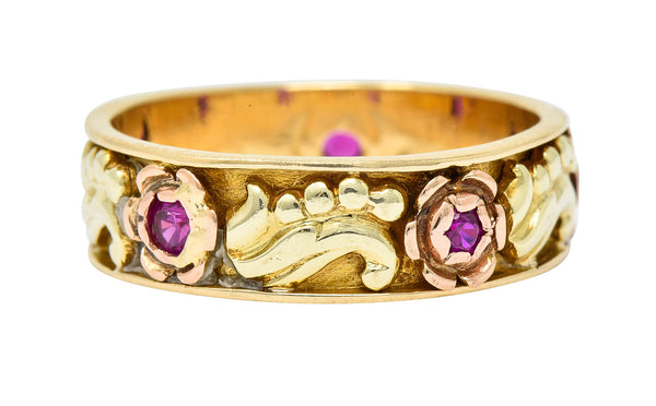 Art Nouveau Ruby 14 Karat Tri-Colored Gold Rose Band Ring