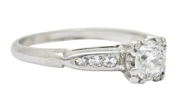 Retro 0.63 CTW Diamond Platinum Engagement Ring Circa 1940
