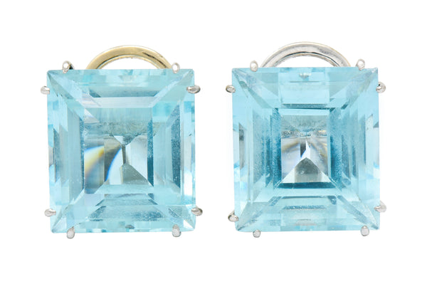 1960's Vintage 30.10 CTW Aquamarine Platinum Bold Gemstone Earrings - Wilson's Estate Jewelry