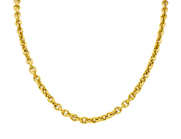 Vintage 14 Karat Yellow Gold 30 Inch Cable Chain Unisex Necklace