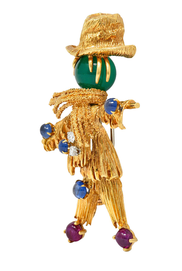 French Van Cleef & Arpels Ruby Sapphire Diamond Chrysoprase 18 Karat Gold Scarecrow Brooch 1965
