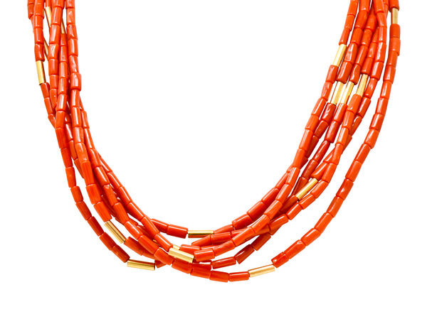 Van Cleef & Arpels Coral 14 Karat Gold Vintage Multi-Strand Necklace - Wilson's Estate Jewelry