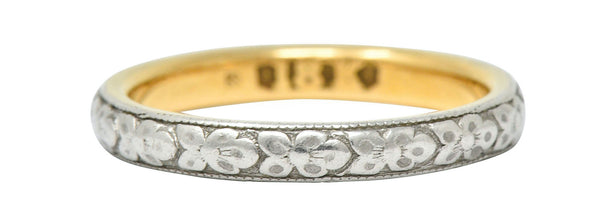 Early Art Deco Platinum-Topped 18 Karat Two-Tone Gold Floral Band Ring