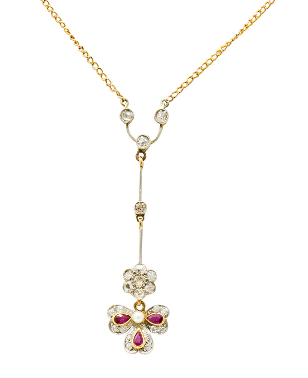 Edwardian Diamond Ruby Pearl Platinum-Topped 18 Karat Gold Floral Drop Necklace - Wilson's Estate Jewelry