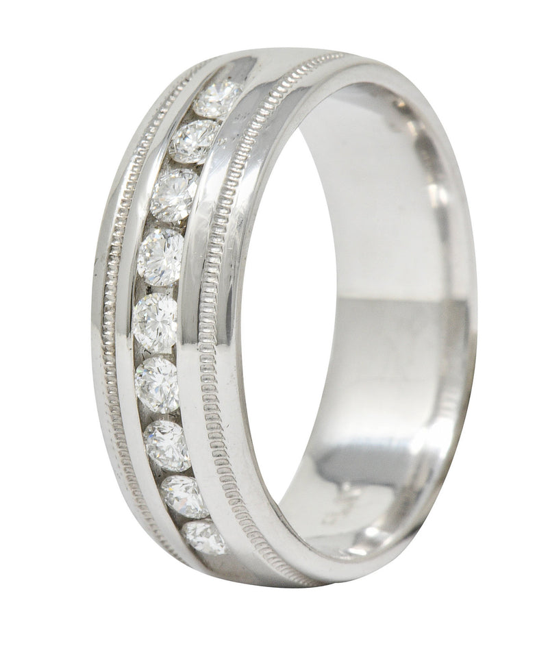Contemporary 0.75 CTW Diamond Platinum Men's Channel Band Ring