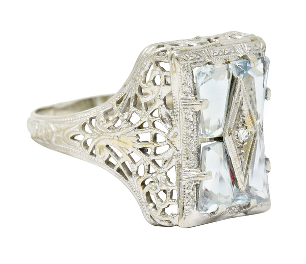 Art Deco Aquamarine Diamond 14 Karat White Gold Floral Dinner Ring - Wilson's Estate Jewelry