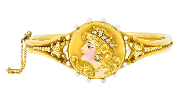 Art Nouveau Enamel Diamond Pearl 14 Karat Gold Princess Bangle Bracelet - Wilson's Estate Jewelry