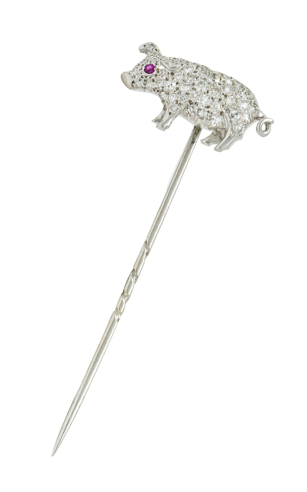 Edwardian Pave Diamond Platinum Pig Stickpin