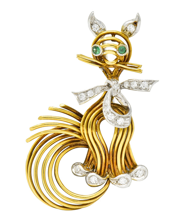Spitzer & Furman Vintage Diamond Emerald Platinum 18 Karat Gold Cat Brooch - Wilson's Estate Jewelry