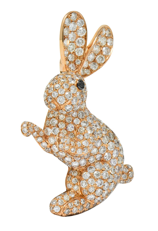 Contemporary 3.35 CTW Pave Diamond 18 Karat Rose Gold Bunny Rabbit Brooch