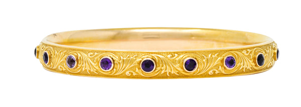 Krementz Art Nouveau Amethyst 14 Karat Gold Bangle Bracelet