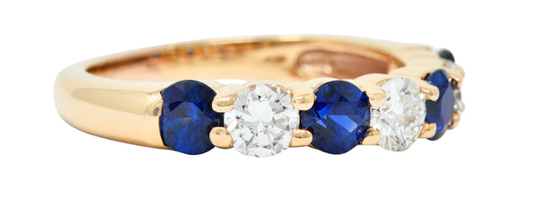 1.92 CTW Diamond Sapphire 18 Karat Rose Gold Band Ring