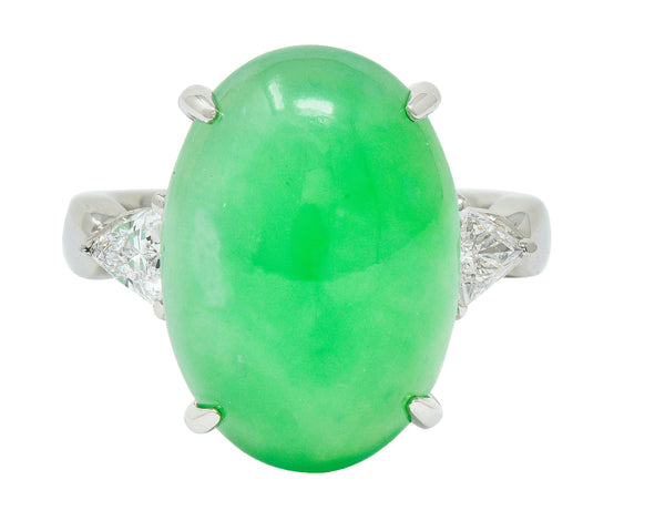 .11111 ##AT GIA Contemporary Jade Diamond Platinum Cabochon Ring
