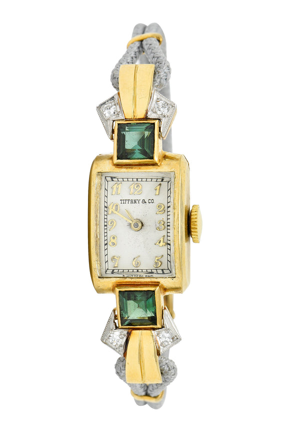 1941 Tiffany & Co. Green Tourmaline Diamond Platinum-Topped 14 Karat Gold Watch Bracelet