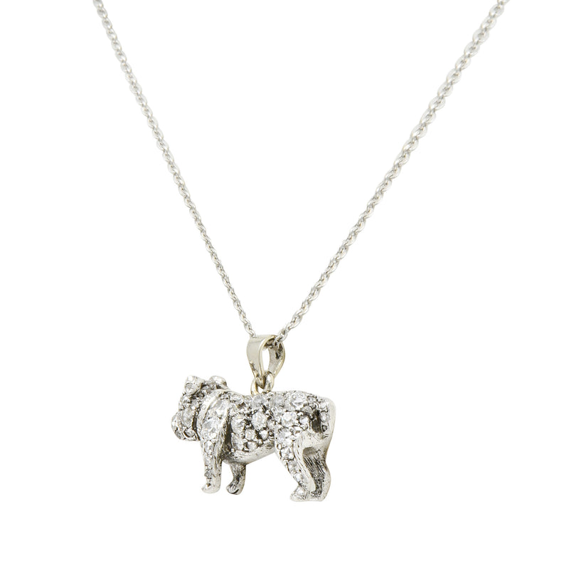 Victorian 2.10 CTW Pave Diamond Silver-Topped Gold Bulldog Pendant Necklace - Wilson's Estate Jewelry