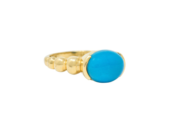 Contemporary Turquoise Cabochon 14 Karat Gold Stacking Ring