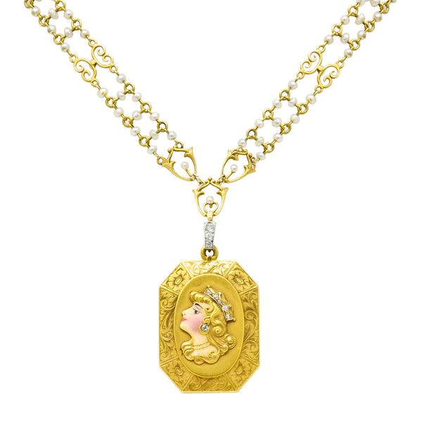 Art Nouveau Enamel Diamond Pearl 14 Karat Gold Princess Locket Necklace - Wilson's Estate Jewelry