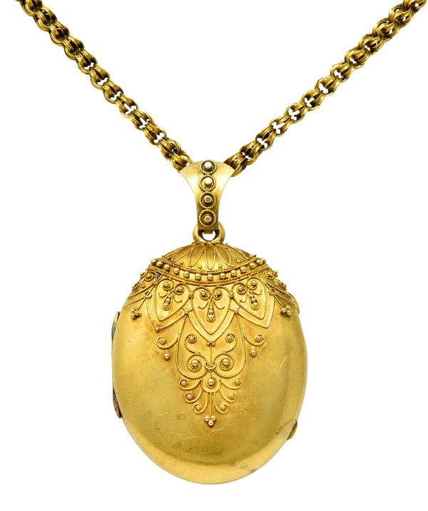 Victorian Etruscan Revival 14 & 18 Karat Gold Locket Necklace