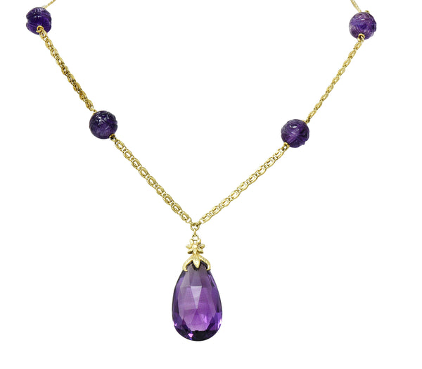 Art Nouveau Carved & Faceted Amethyst 14 Karat Gold Drop Necklace