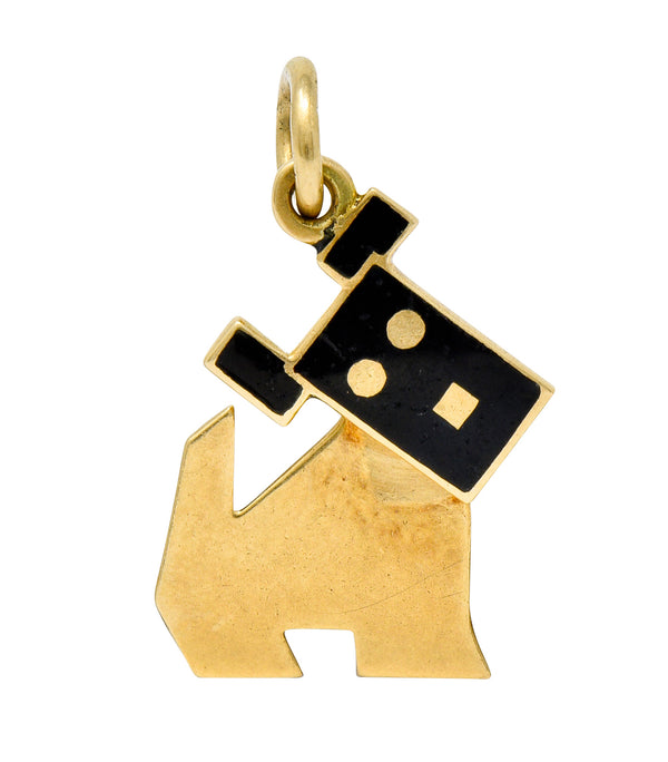 Art Nouveau Enamel 14 Karat Gold Articulated Dog Charm - Wilson's Estate Jewelry