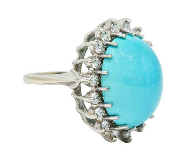 Modern Turquoise Diamond 14 Karat White Gold Cluster Ring