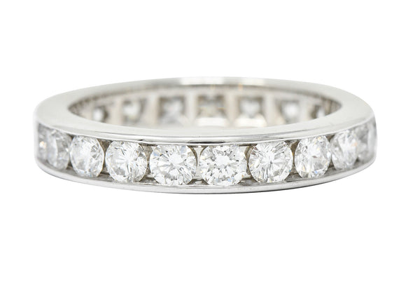 Tiffany & Co. 2.10 CTW Diamond Platinum Channel Eternity Band Ring