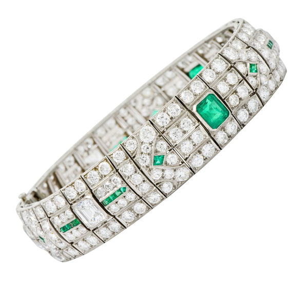 Exceptional Art Deco 23.96 CTW Diamond Emerald Platinum Geometric Link Bracelet - Wilson's Estate Jewelry