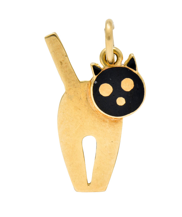 Art Nouveau Enamel 14 Karat Gold Articulated Cat Charm - Wilson's Estate Jewelry