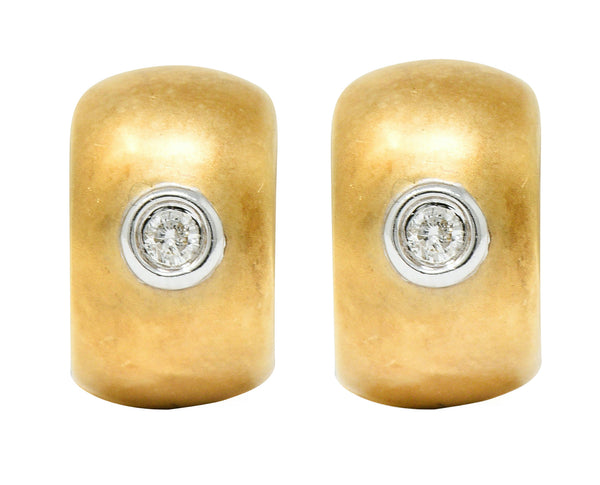 Diamond 14 Karat Gold Huggie Earrings