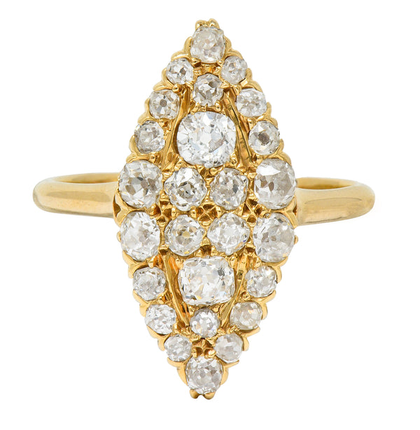 Late Victorian 2.40 CTW Diamond 14 Karat Gold Navette Cluster Ring