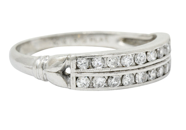 Art Deco 0.50 CTW Diamond Platinum Tulip Band Ring