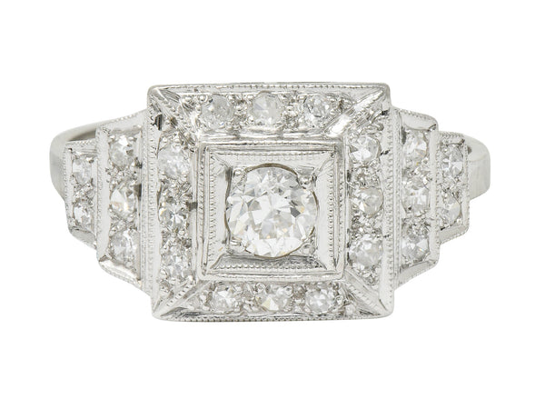 Art Deco 0.70 CTW Diamond Platinum Square Stepped Engagement Ring