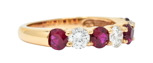 Vintage 1.92 CTW Diamond Ruby 18 Karat Rose Gold Band Ring