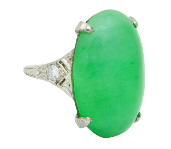 1930's Art Deco Jadeite Jade Diamond Platinum Cabochon Ring GIA