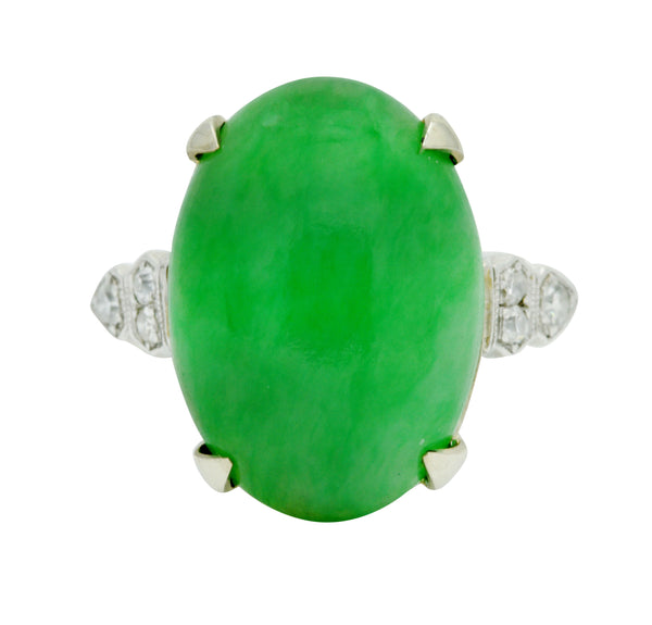 Art Deco Jadeite Jade Diamond Platinum Cabochon Ring GIA