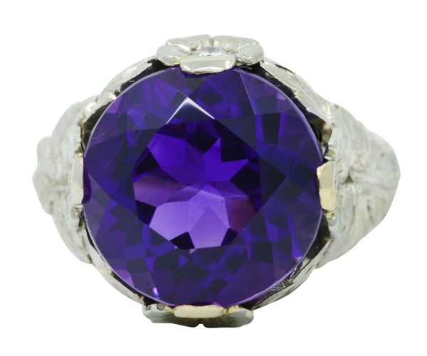 Edwardian Amethyst Diamond 18 Karat White Gold Floral Cocktail Ring