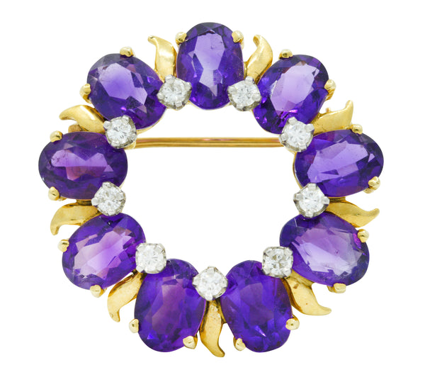 Tiffany & Co. Amethyst Diamond 14 Karat Gold Wreath Brooch