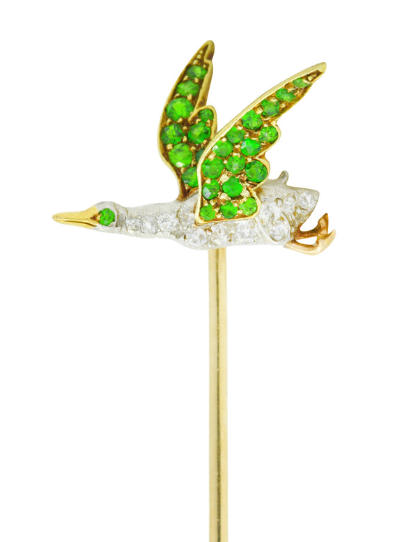 Edwardian Diamond Demantoid Garnet Platinum-Topped 18 Karat Gold Goose Stickpin