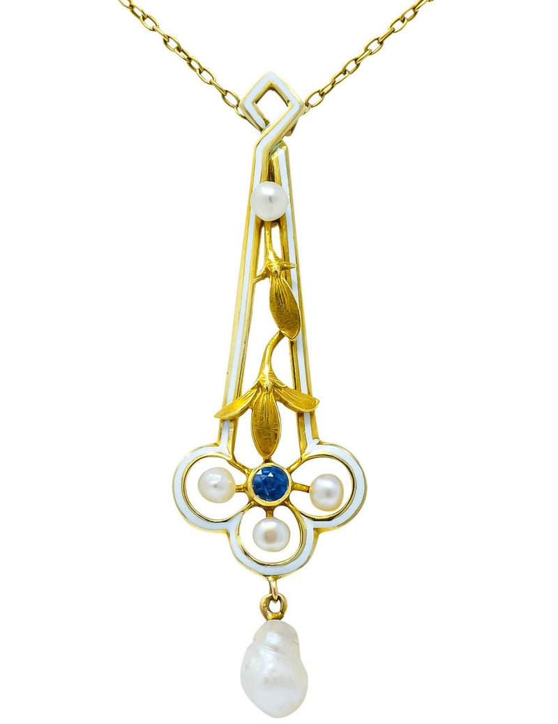 A.J. Hedges & Co. 1905 Art Nouveau Enamel Sapphire Pearl 14 Karat Gold Drop Necklace - Wilson's Estate Jewelry