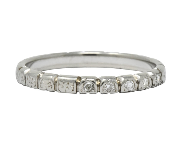 Abel Bros. & Co. Art Deco Diamond 18 Karat White Gold Stackable Band Ring Ring