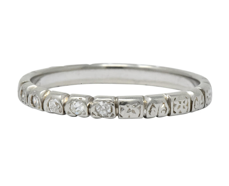 Abel Bros. & Co. Art Deco Diamond 18 Karat White Gold Stackable Band Ring - Wilson's Estate Jewelry