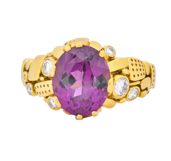 Alex Sepkus 3.92 CTW Rhodolite Garnet Diamond 18 Karat Gold Cocktail Ring Ring