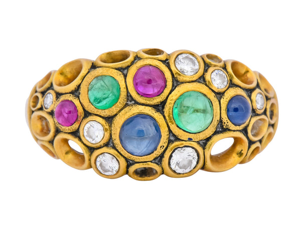 Alex Sepkus Blue Sapphire Emerald Ruby Diamond 18 Karat Gold Cluster Ring Ring