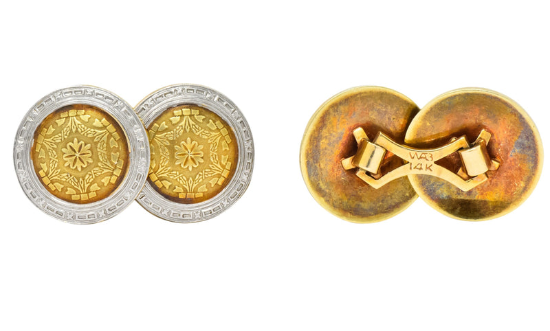 Allsopp-Steller Inc. Edwardian Platinum-Topped 14 Karat Gold Men's Cufflinks - Wilson's Estate Jewelry